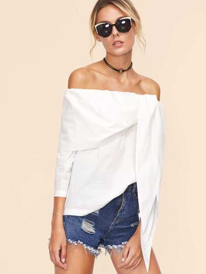 White Off The Shoulder Tunic Top