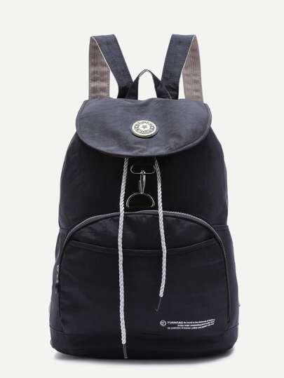 Black Front Pocket Drawstring Nylon Backpack