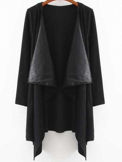 Black Draped Neck Open Front Asymmetrical Coat