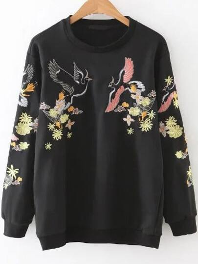 Black Embroidery Round Neck Sweatshirt