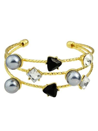 Brazalete ancho con strass y perlas