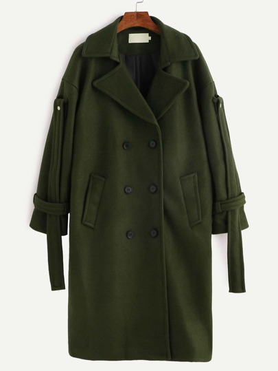 Army Green Double Breasted Strap Cuff Coat