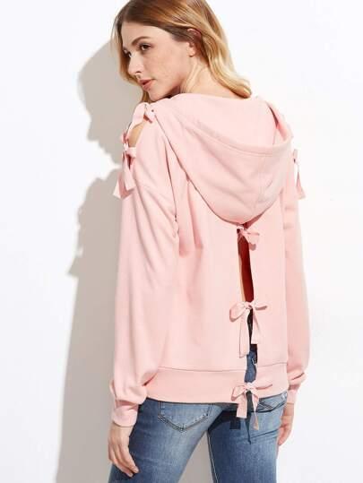 Pink Tied Split Shoulder And Back Zip Up Hoodie