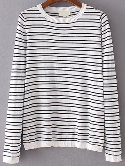 White Striped Elbow Patch Knitwear