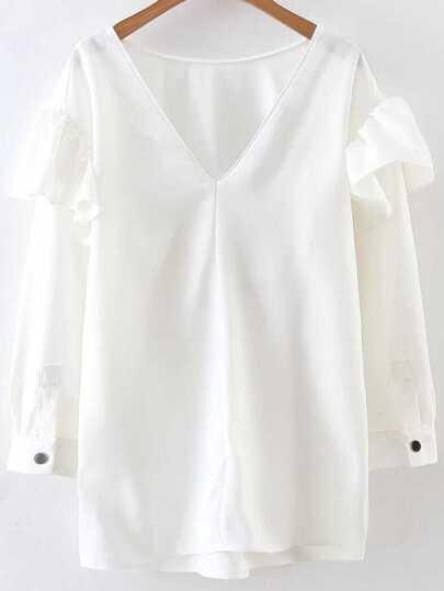 White Ruffle Detail V Neck Blouse