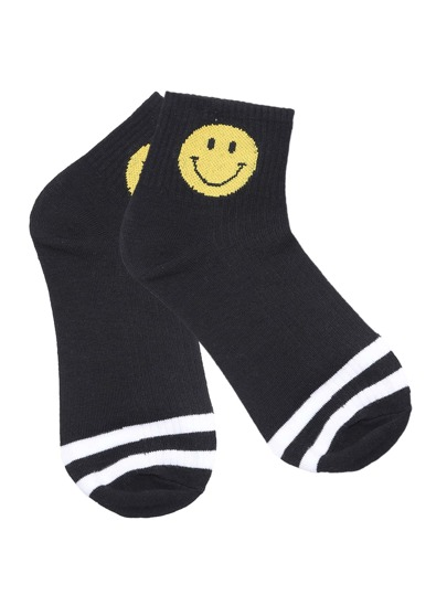 Black Smiley Face Stripe Trim Ankle Socks
