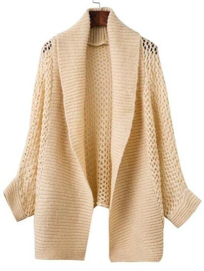 Apricot Shawl Collar Hollow Out Asymmetrical Sweater Coat