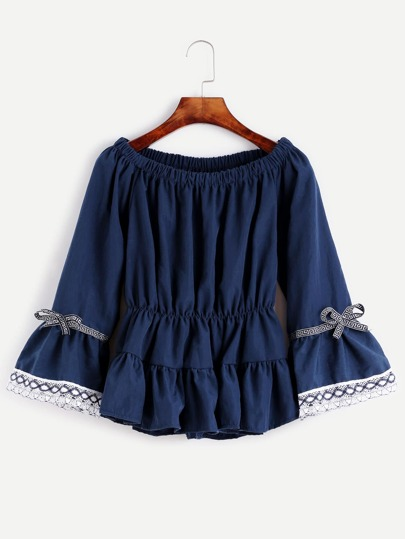 Navy Embroidered Tape Detail Shirred Peplum Top