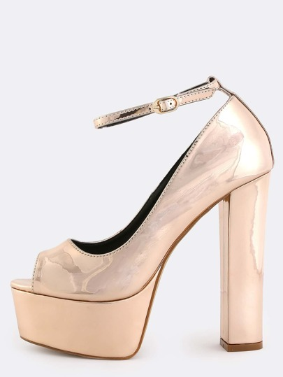 Metallic Platform Pumps ROSE GOLD