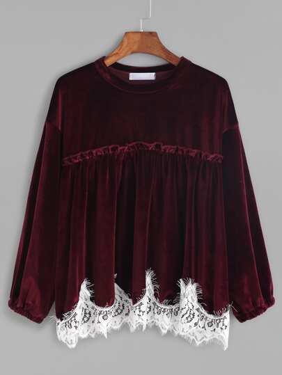 Burgundy Contrast Lace Trim Velvet Blouse