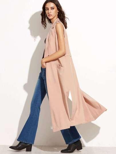 Pink Side Slit Sleeveless Trench Coat