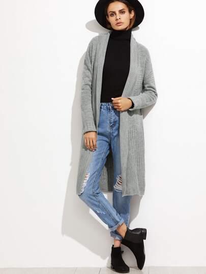 Grey Shawl Collar Eyelet Longline Cardigan