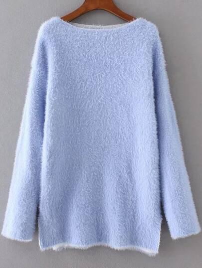 Blue Drop Shoulder Side Slit Sweater