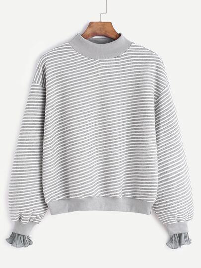 Contrast Stripe Drop Shoulder Ruffle Cuff Sweatshirt