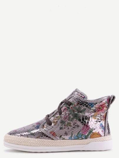 Chaussures espadrilles en cuir PU peau de serpent floral
