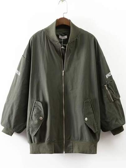 Army Green Letter Print Jacket With Pocket