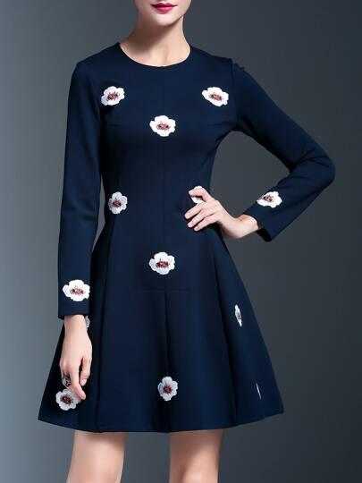 Vestido línea A con aplique - azul
