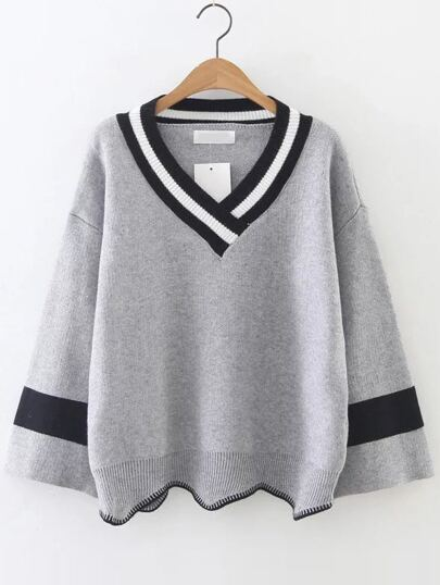 Grey Color Block V Neck Asymmetrical Sweater