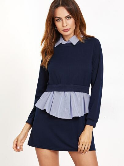 Navy Contrast Striped 2 In 1 Dress