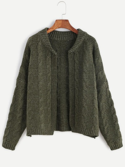 Army Green Drop Shoulder Cable Knit Sweater Coat
