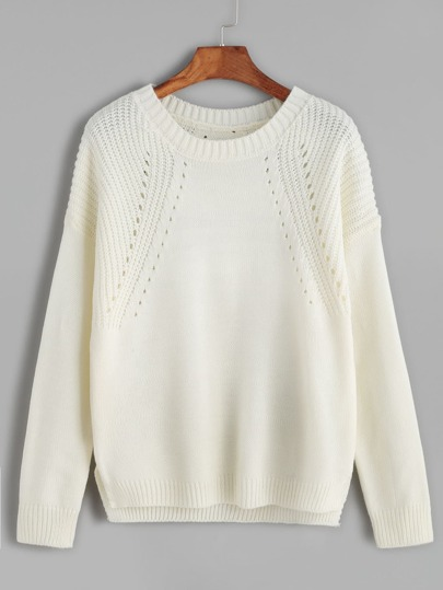 Beige Hollow Out Split Side Sweater