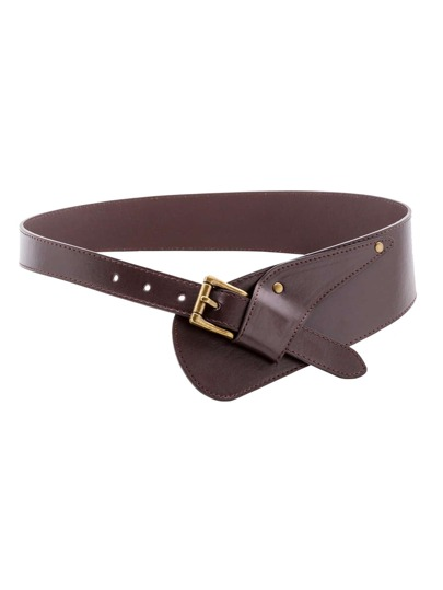 Coffee Faux Leather Buckled Stylish Wrap Belt