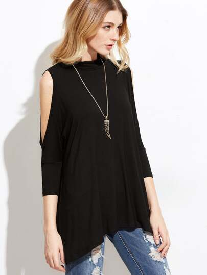 Black Cold Shoulder Cutout Asymmetric T-shirt