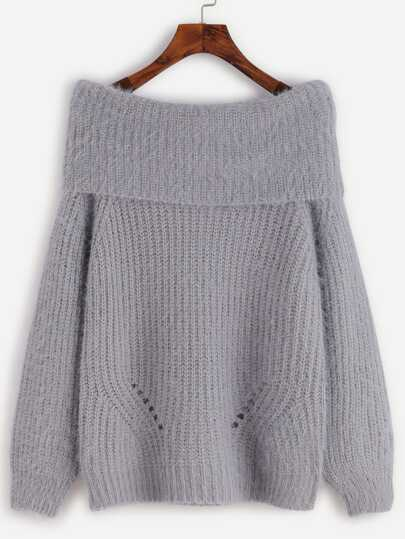 Grey Foldover Fuzzy Sweater