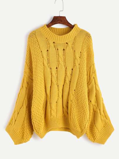 Kablestrick Slouchy Pullover -gelb