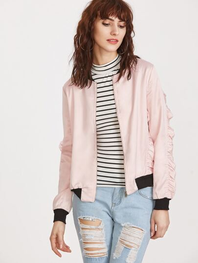 Pink Contrast Trim Ruffle Bomber Jacket