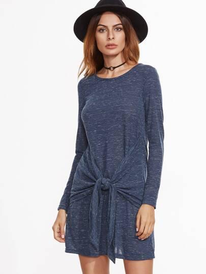 Vestido con detalle de lazo anudado - azul marino