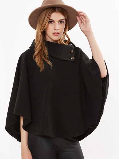 Black Button Turtleneck Poncho Coat