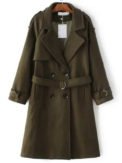 Army Green Double Breasted Trench Coat With Belt