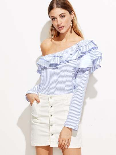 Blue Vertical Striped One Shoulder Ruffle Trim Top