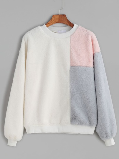 Ivory Contrast Dropped Shoulder Seam Fuzzy Sweatshirt