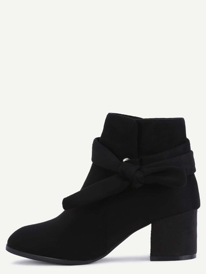 Black Faux Suede Bind Bowknot Chunky Boots