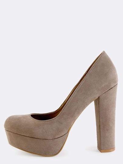 Suede Round Toe Platform Heels TAUPE