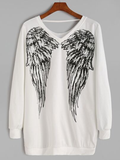 White Angel Wings Print Sweatshirt