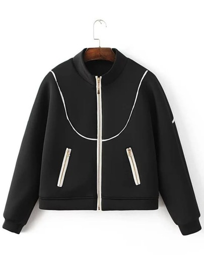 Black Contrast Trim Zipper Up Jacket