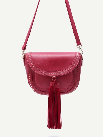 Red Studded PU Tassel Trim Flap Crossbody Bag