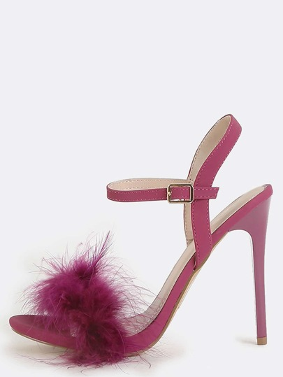 Faux Feather Open Toe Heels PURPLE