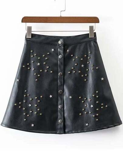 Black Studded High Waist PU Skirt