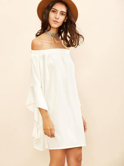 White Split Ruffle Sleeve Off The Shoulder Dress