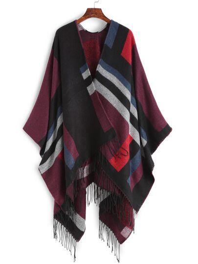 Многоцветный модный шарф-накидка с бахромой