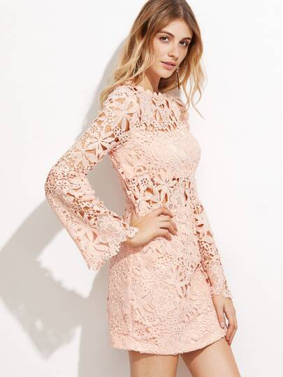 Pink Hollow Out Embroidered Lace Overlay Dress