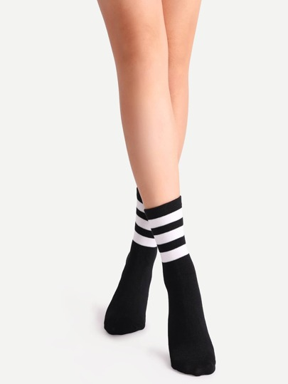 Black Striped Crew Socks