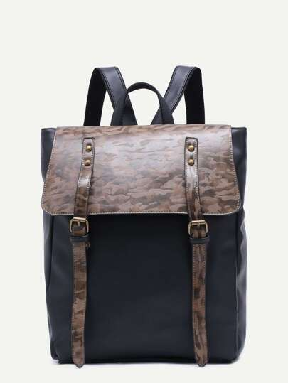 Black PU Double Buckled Strap Flap Backpack