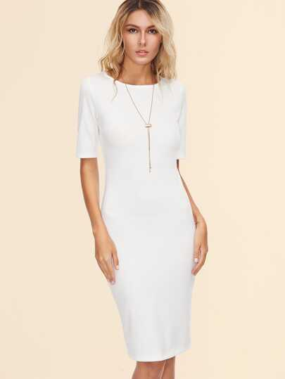 White Back Slit Pencil Dress