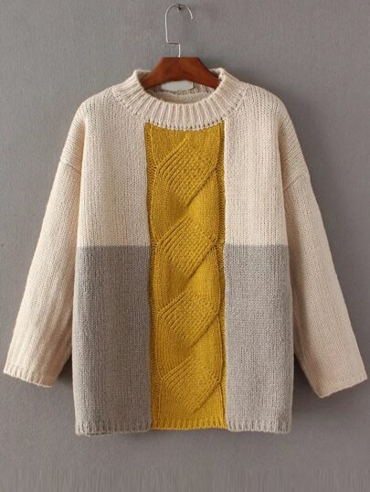 Color Block Cable Knit Drop Shoulder Sweater
