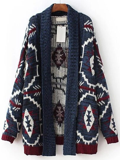 Multicolor Geometric Pattern Shawl Collar Sweater Coat
